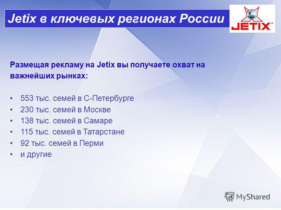 Размещая рекламу на Jetix вы получаете охват на важнейших рынках: 553 тыс. семей в С-Петербурге 230 тыс. семей в Москве 138 тыс. семей в Самаре 115 тыс. семей в Татарстане 92 тыс. семей в Перми и другие Jetix в ключевых регионах России