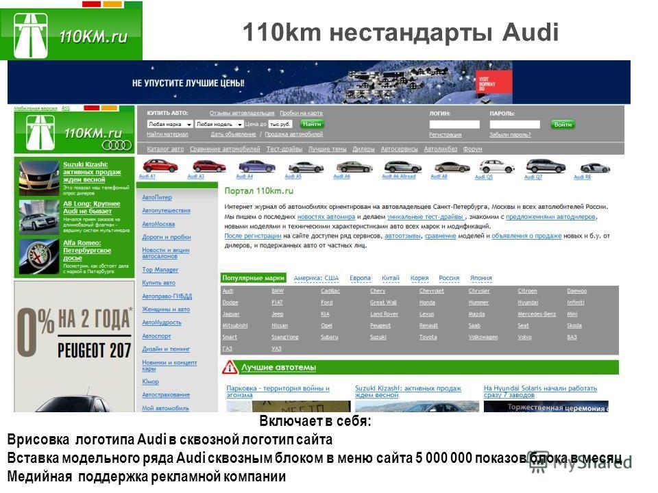 110km нестандарты Audi Включает в себя: Врисовка логотипа Audi в сквозной логотип сайта Вставка модельного ряда Audi сквозным блоком в меню сайта 5 000 000 показов блока в месяц Медийная поддержка рекламной компании
