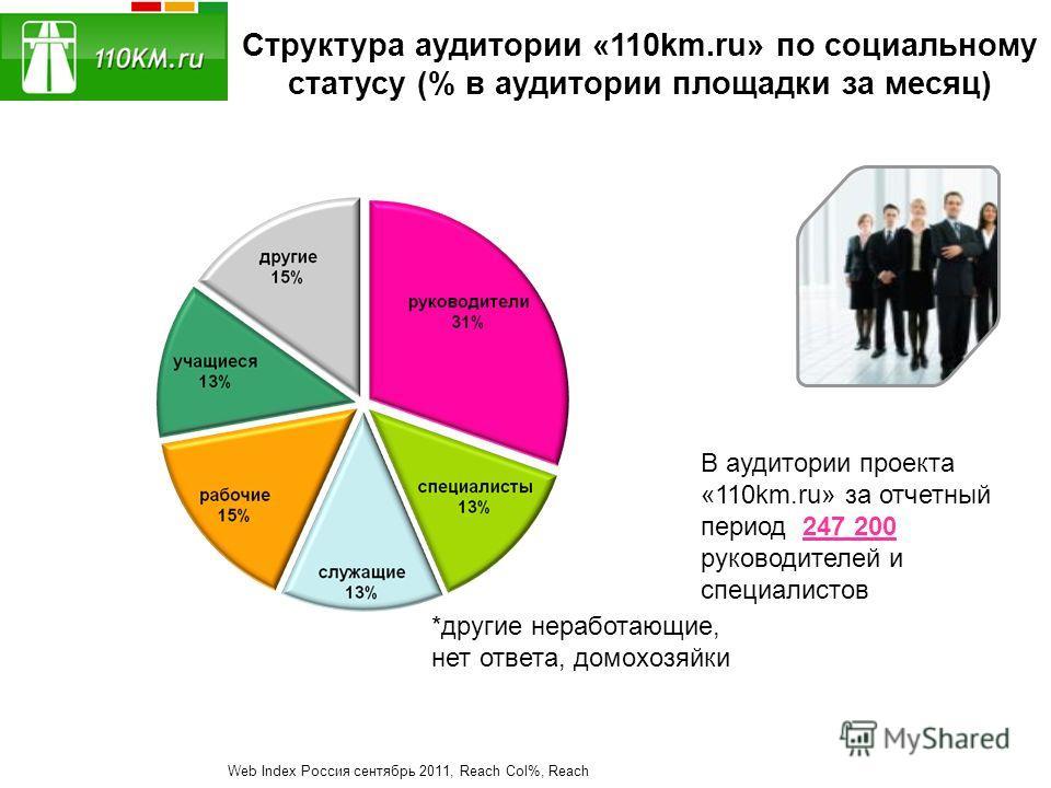 Структура аудитории «110km.ru» по социальному статусу (% в аудитории площадки за месяц) В аудитории проекта «110km.ru» за отчетный период 247 200 руководителей и специалистов Web Index Россия сентябрь 2011, Reach Col%, Reach *другие неработающие, нет