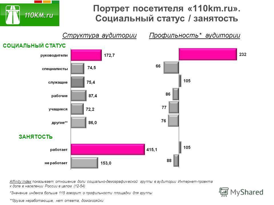 Портрет посетителя «110km.ru». Социальный статус / занятость СОЦИАЛЬНЫЙ СТАТУС ЗАНЯТОСТЬ Структура аудиторииПрофильность* аудитории *Значение индекса больше 115 говорит о профильности площадки для группы Affinity Index показывает отношение доли социа