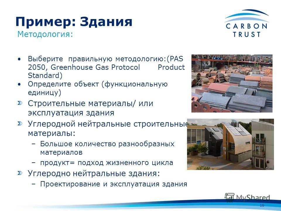 Пример: Здания 18 Методология: Выберите правильную методологию:(PAS 2050, Greenhouse Gas Protocol Product Standard) Определите объект (функциональную единицу) Строительные материалы/ или эксплуатация здания Углеродной нейтральные строительные материа