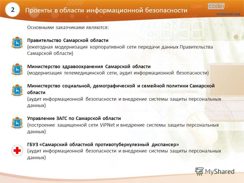Основными заказчиками являются: Правительство Самарской области (ежегодная модернизация корпоративной сети передачи данных Правительства Самарской области) Министерство здравоохранения Самарской области (модернизация телемедицинской сети, аудит инфор