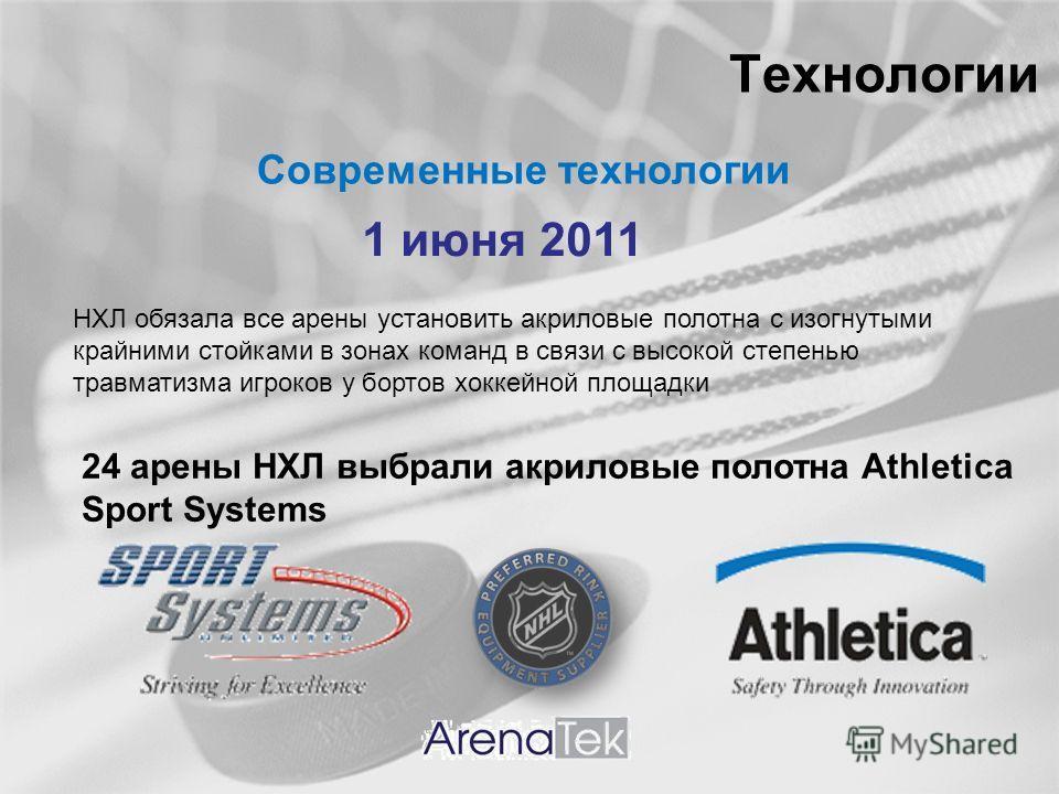 Технологии Современные технологии 1 июня 2011 НХЛ обязала все арены установить акриловые полотна с изогнутыми крайними стойками в зонах команд в связи с высокой степенью травматизма игроков у бортов хоккейной площадки 24 арены НХЛ выбрали акриловые п