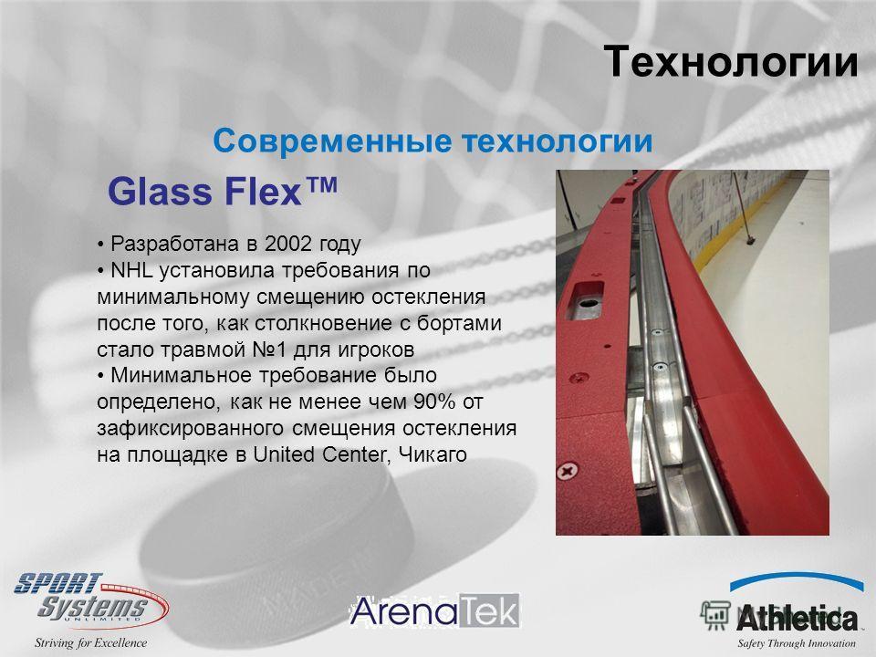 Технологии Современные технологии Glass Flex Разработана в 2002 году NHL установила требования по минимальному смещению остекления после того, как столкновение с бортами стало травмой 1 для игроков Минимальное требование было определено, как не менее