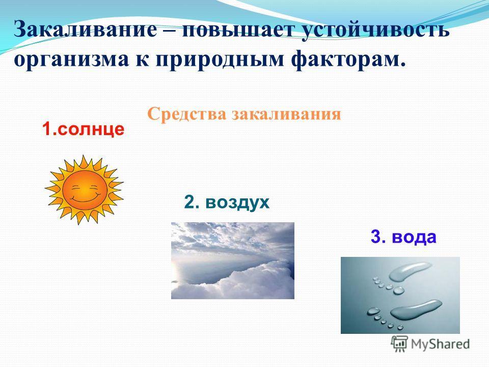 Закаливание – повышает устойчивость организма к природным факторам. Средства закаливания 1.солнце 2. воздух 3. вода