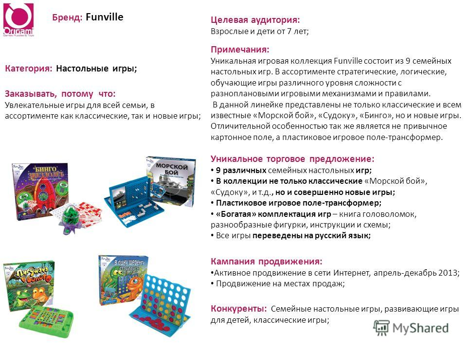 Бренд: Funville Категория: Настольные игры; Заказывать, потому что: Увлекательные игры для всей семьи, в ассортименте как классические, так и новые игры; Уникальное торговое предложение: 9 различных семейных настольных игр; В коллекции не только клас