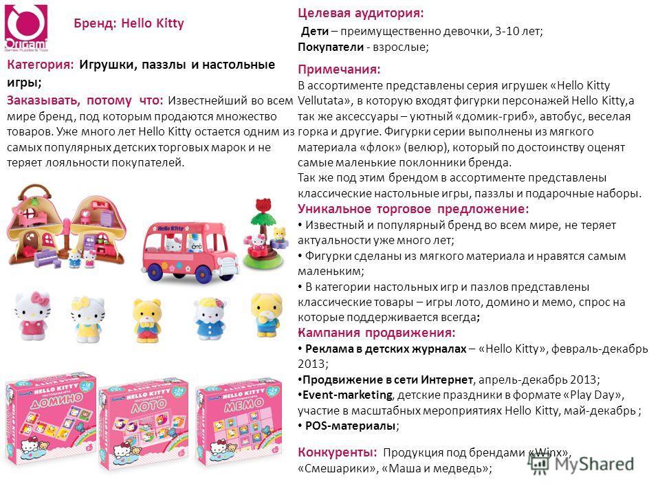 Бренд: Hello Kitty Категория: Игрушки, паззлы и настольные игры; Заказывать, потому что: Известнейший во всем мире бренд, под которым продаются множество товаров. Уже много лет Hello Kitty остается одним из самых популярных детских торговых марок и н