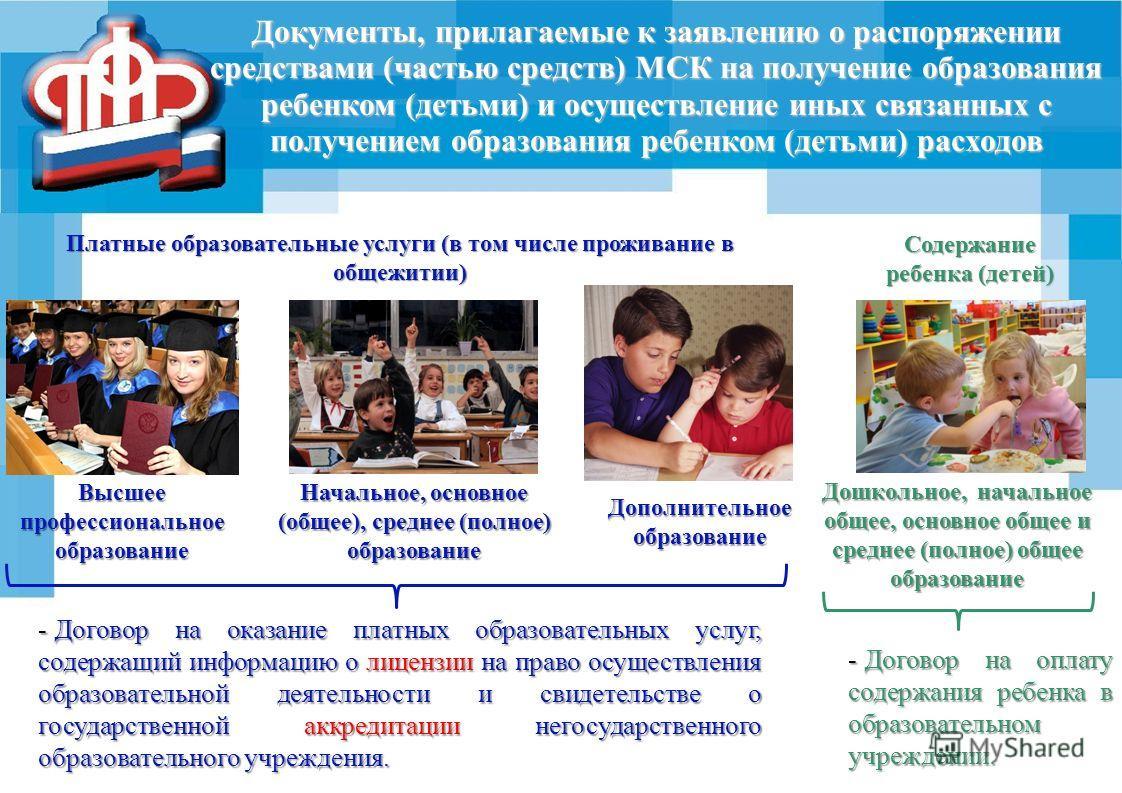Документы, прилагаемые к заявлению о распоряжении средствами (частью средств) МСК на получение образования ребенком (детьми) и осуществление иных связанных с получением образования ребенком (детьми) расходов Высшее профессиональное образование Началь
