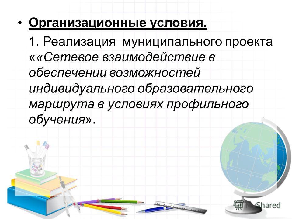 Организационные условия. 1. Реализация муниципального проекта ««Сетевое взаимодействие в обеспечении возможностей индивидуального образовательного маршрута в условиях профильного обучения».