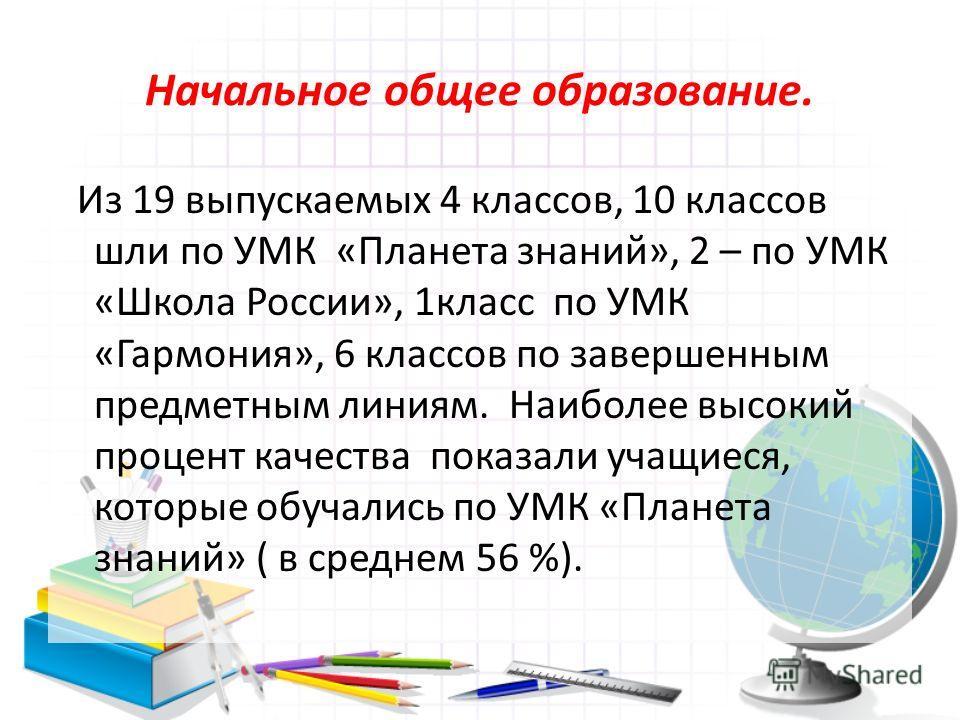Начальное общее образование. Из 19 выпускаемых 4 классов, 10 классов шли по УМК «Планета знаний», 2 – по УМК «Школа России», 1класс по УМК «Гармония», 6 классов по завершенным предметным линиям. Наиболее высокий процент качества показали учащиеся, ко