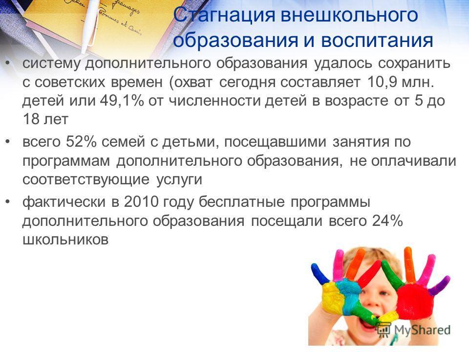 Стагнация внешкольного образования и воспитания систему дополнительного образования удалось сохранить с советских времен (охват сегодня составляет 10,9 млн. детей или 49,1% от численности детей в возрасте от 5 до 18 лет всего 52% семей с детьми, посе
