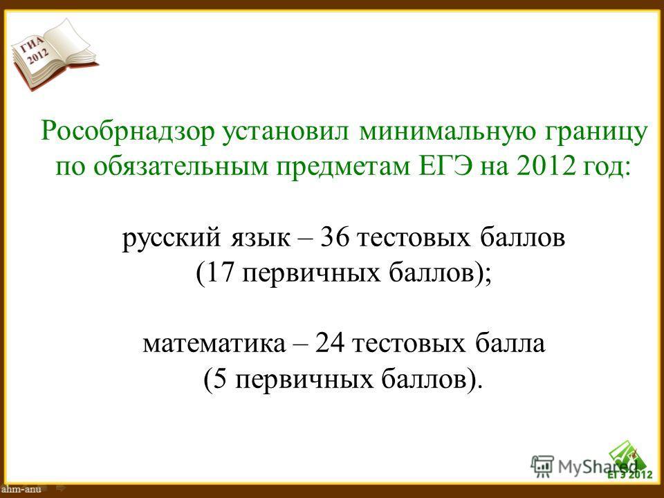 Рособрнадзор установил минимальную границу по обязательным предметам ЕГЭ на 2012 год: русский язык – 36 тестовых баллов (17 первичных баллов); математика – 24 тестовых балла (5 первичных баллов).