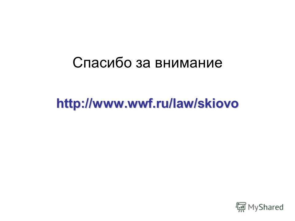 Спасибо за вниманиеhttp://www.wwf.ru/law/skiovo