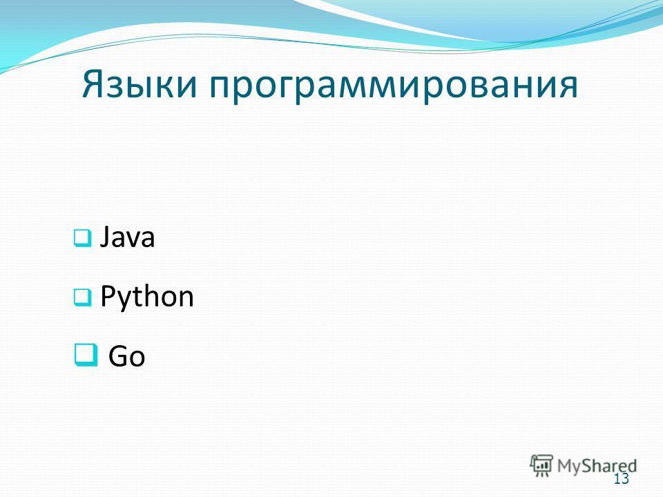 Языки программирования Java Python Go 13