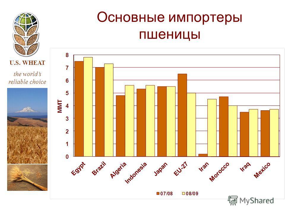 U.S. WHEAT the worlds reliable choice Основные импортеры пшеницы