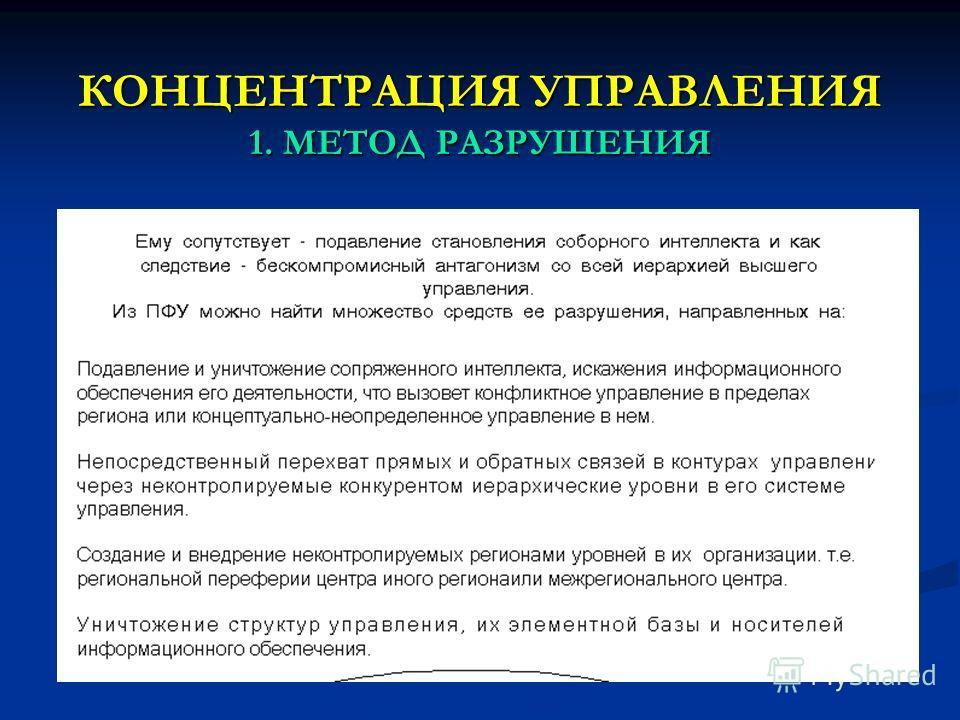 КОНЦЕНТРАЦИЯ УПРАВЛЕНИЯ 1. МЕТОД РАЗРУШЕНИЯ