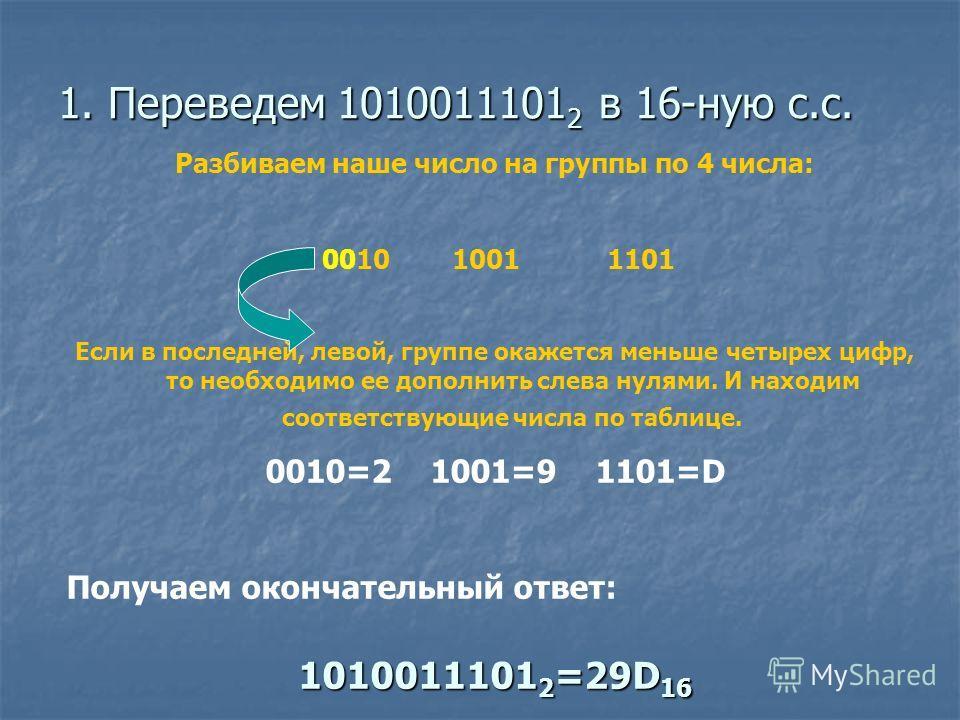 1. Переведем 1010011101 2 в 16-ную с.с. Разбиваем наше число на группы по 4 числа: 0010 1001 1101 Если в последней, левой, группе окажется меньше четырех цифр, то необходимо ее дополнить слева нулями. И находим соответствующие числа по таблице. 0010=