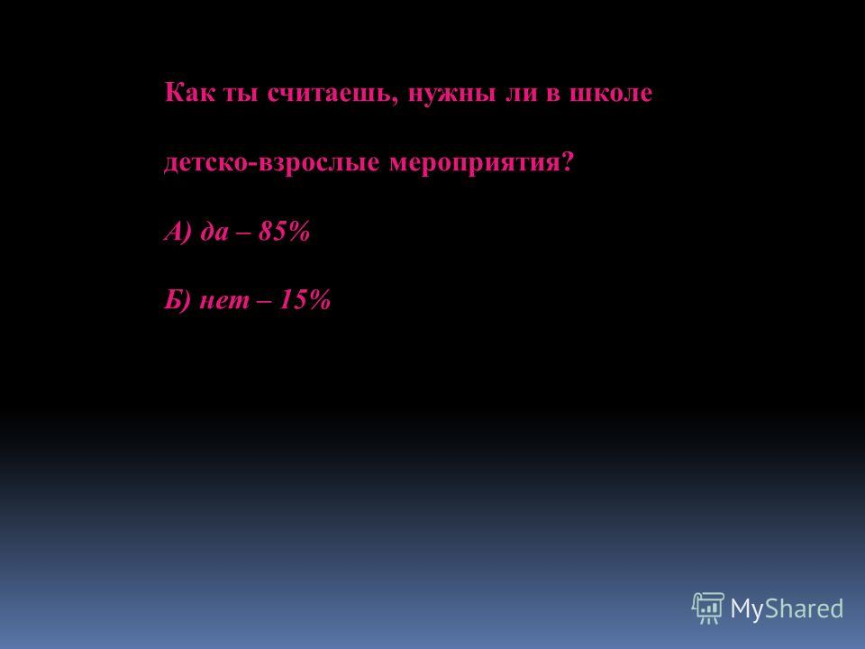 Как ты считаешь, нужны ли в школе детско-взрослые мероприятия? А) да – 85% Б) нет – 15%