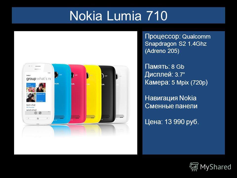 Nokia Lumia 710 Процессор: Qualcomm Snapdragon S2 1.4Ghz (Adreno 205) Память: 8 Gb Дисплей: 3.7 Камера: 5 Mpix (720p ) Навигация Nokia Сменные панели Цена: 13 990 руб.