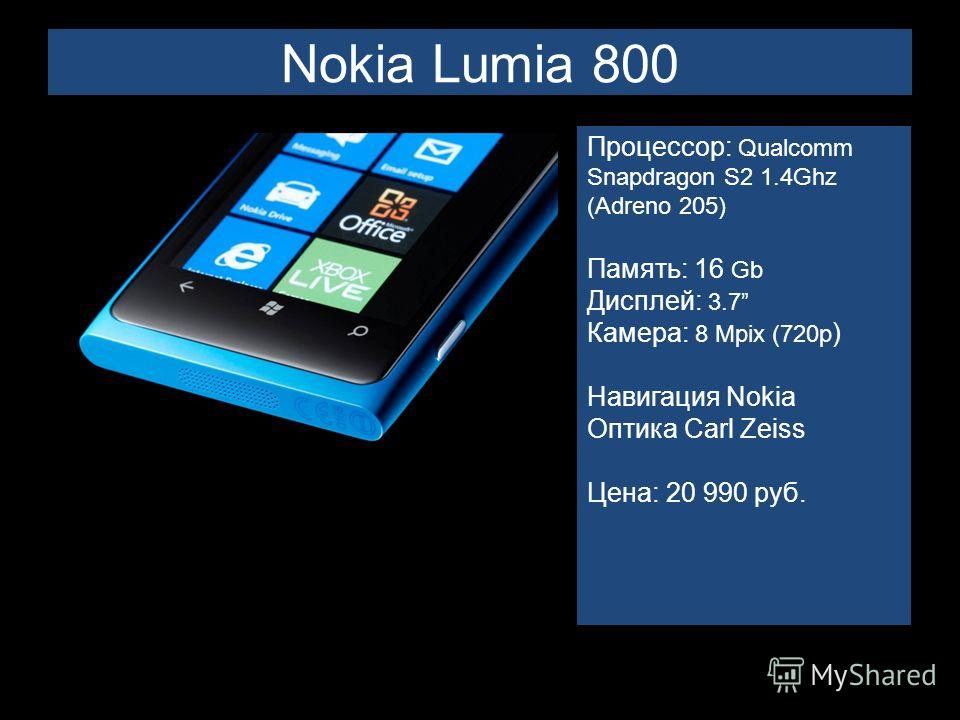 Nokia Lumia 800 Процессор: Qualcomm Snapdragon S2 1.4Ghz (Adreno 205) Память: 16 Gb Дисплей: 3.7 Камера: 8 Mpix (720p ) Навигация Nokia Оптика Carl Zeiss Цена: 20 990 руб.