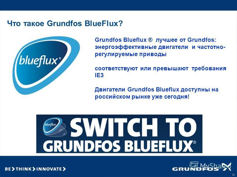 11 Что такое Grundfos BlueFlux? Grundfos Blueflux ® лучшее от Grundfos: энергоэффективные двигатели и частотно- регулируемые приводы соответствуют или превышают требования IE3 Двигатели Grundfos Blueflux доступны на российском рынке уже сегодня!