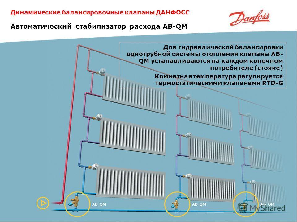 Динамические балансировочные клапаны ДАНФОСС AB-QM Для гидравлической балансировки однотрубной системы отопления клапаны AB- QM устанавливаются на каждом конечном потребителе (стояке) Комнатная температура регулируется термостатическими клапанами RTD