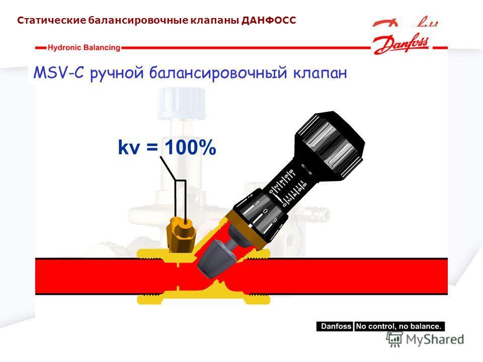 MSV-C ручной балансировочный клапан Статические балансировочные клапаны ДАНФОСС