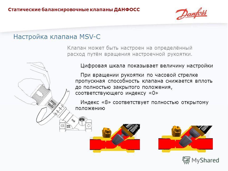 Настройка клапана MSV-C Клапан может быть настроен на определённый расход путём вращения настроечной рукоятки. Цифровая шкала показывает величину настройки При вращении рукоятки по часовой стрелке пропускная способность клапана снижается вплоть до по