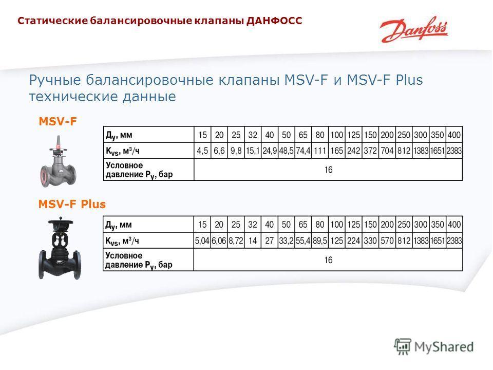 Ручные балансировочные клапаны MSV-F и MSV-F Plus технические данные MSV-F MSV-F Plus Статические балансировочные клапаны ДАНФОСС