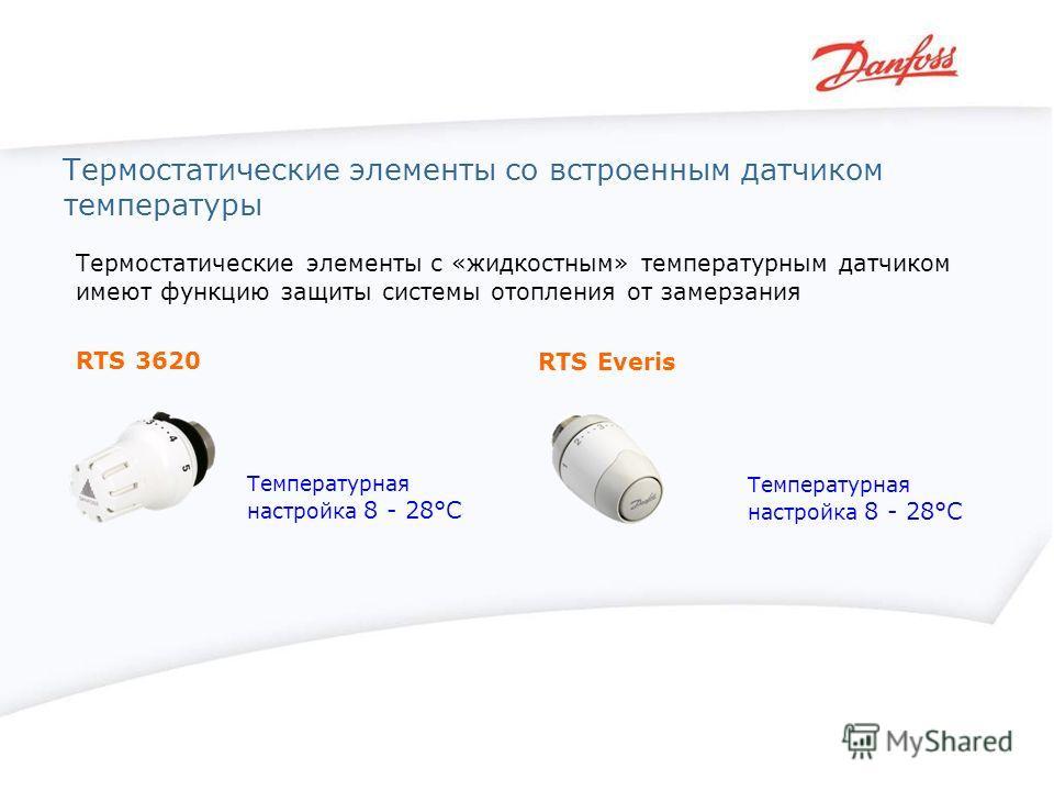 Термостатические элементы со встроенным датчиком температуры RTS 3620 RTS Everis Термостатические элементы с «жидкостным» температурным датчиком имеют функцию защиты системы отопления от замерзания Температурная настройка 8 - 28°С