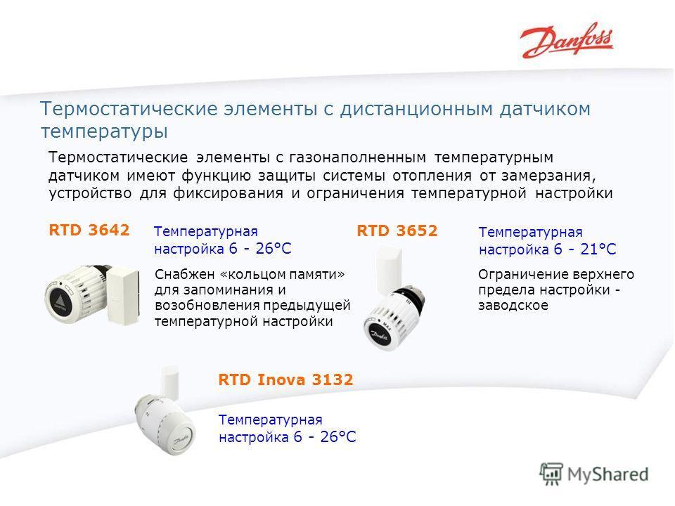 Термостатические элементы с дистанционным датчиком температуры RTD 3642 RTD 3652 RTD Inova 3132 Термостатические элементы с газонаполненным температурным датчиком имеют функцию защиты системы отопления от замерзания, устройство для фиксирования и огр