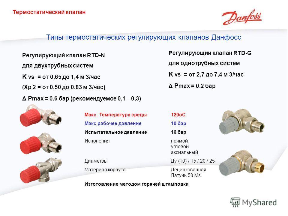 Регулирующий клапан RTD-N для двухтрубных систем K vs = от 0,65 до 1,4 м 3/час (Xp 2 = от 0,50 до 0,83 м 3/час) Δ P max = 0.6 бар (рекомендуемое 0,1 – 0,3) Регулирующий клапан RTD-G для однотрубных систем K vs = от 2,7 до 7,4 м 3/час Δ P max = 0.2 ба