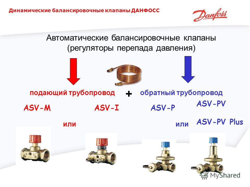 Динамические балансировочные клапаны ДАНФОСС Автоматические балансировочные клапаны (регуляторы перепада давления) ASV-MASV-I ASV-PV ASV-PV Plus ASV-P или подающий трубопроводобратный трубопровод +