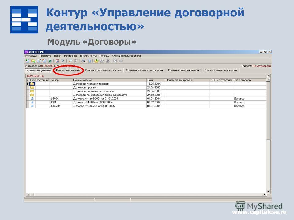 Контур «Управление договорной деятельностью» www.capitalcse.ru Модуль «Договоры»