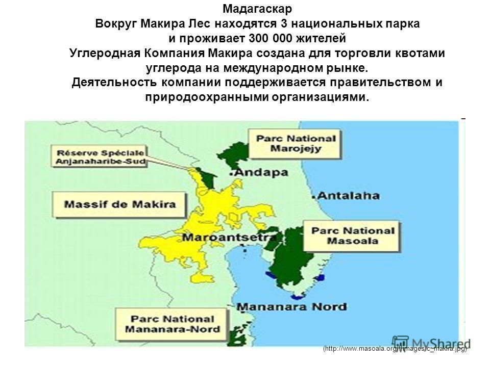 Мадагаскар Вокруг Макира Лес находятся 3 национальных парка и проживает 300 000 жителей Углеродная Компания Макира создана для торговли квотами углерода на международном рынке. Деятельность компании поддерживается правительством и природоохранными ор