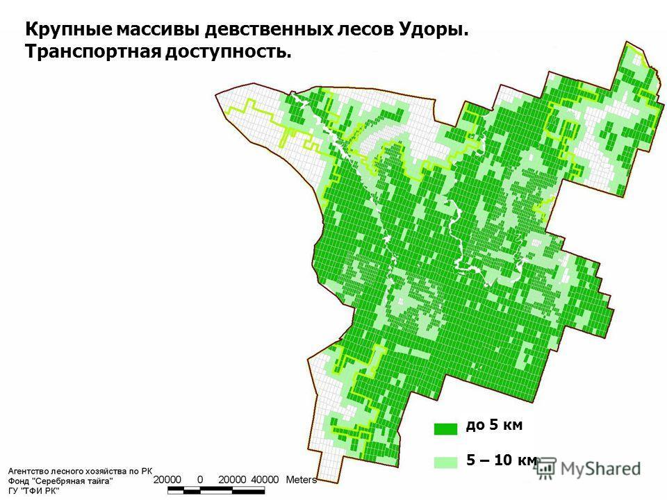 16 Крупные массивы девственных лесов Удоры. Транспортная доступность. до 5 км 5 – 10 км