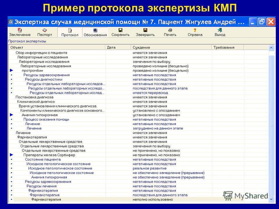 Пример протокола экспертизы КМП