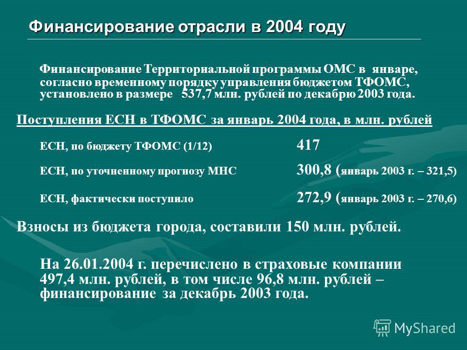 Финансирование отрасли в 2004 году Финансирование Территориальной программы ОМС в январе, согласно временному порядку управления бюджетом ТФОМС, установлено в размере 537,7 млн. рублей по декабрю 2003 года. Поступления ЕСН в ТФОМС за январь 2004 года