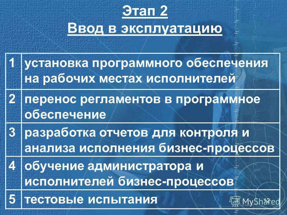 12 Этап 2 Ввод в эксплуатацию 1установка программного обеспечения на рабочих местах исполнителей 2перенос регламентов в программное обеспечение 3разработка отчетов для контроля и анализа исполнения бизнес-процессов 4обучение администратора и исполнит