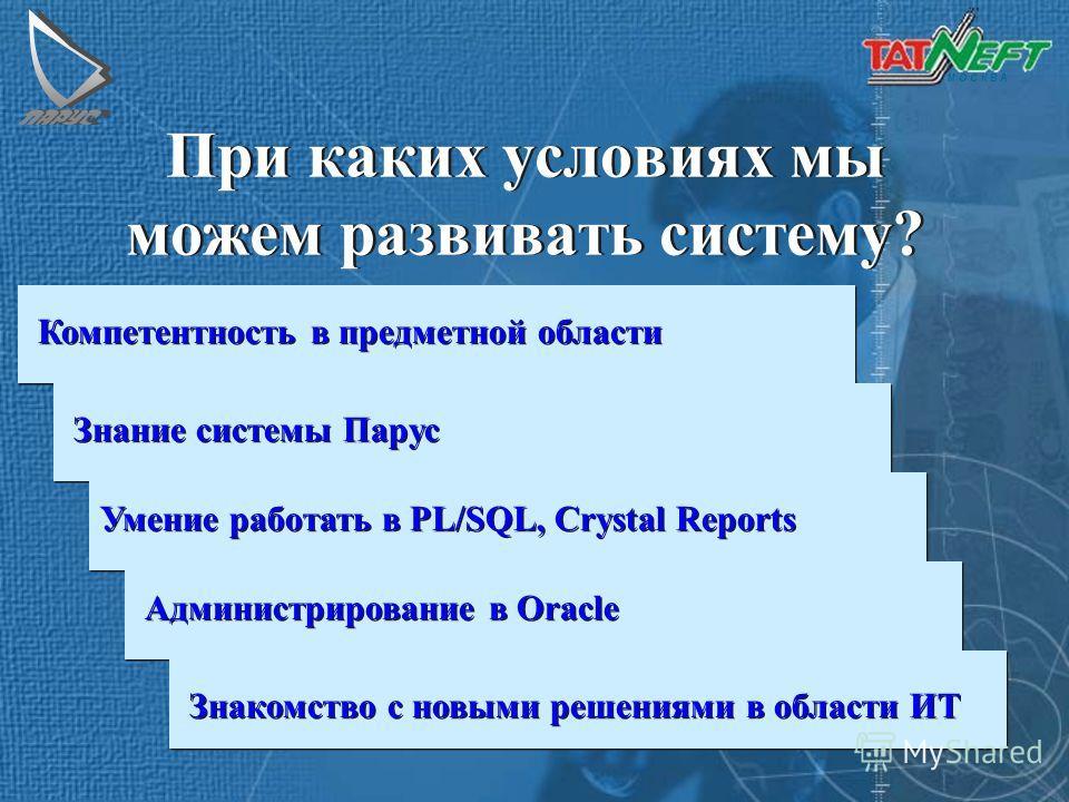 М О С К В А При каких условиях мы можем развивать систему? Компетентность в предметной области Знание системы Парус Умение работать в PL/SQL, Crystal Reports Администрирование в Oracle Знакомство с новыми решениями в области ИТ