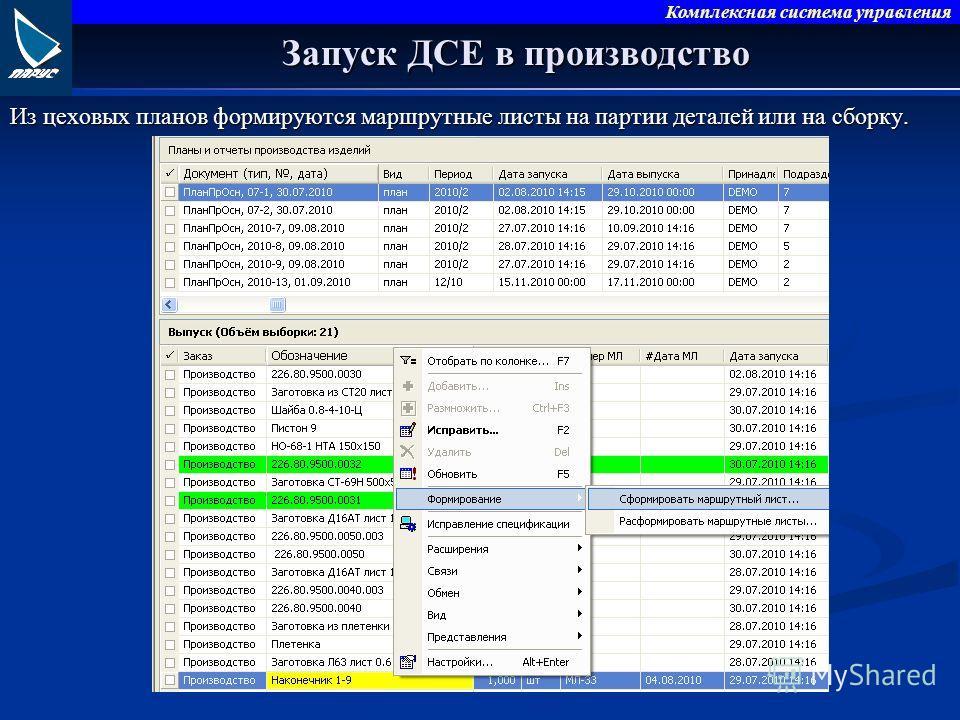 Комплексная система управления Запуск ДСЕ в производство Из цеховых планов формируются маршрутные листы на партии деталей или на сборку.