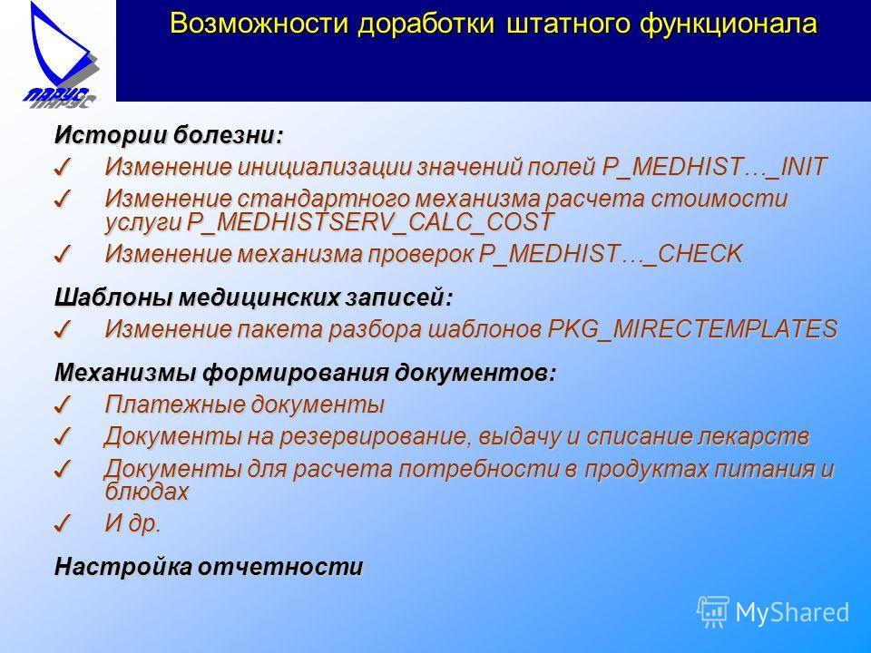 Возможности доработки штатного функционала Истории болезни: 3Изменение инициализации значений полей P_MEDHIST…_INIT 3Изменение стандартного механизма расчета стоимости услуги P_MEDHISTSERV_CALC_COST 3Изменение механизма проверок P_MEDHIST…_CHECK Шабл