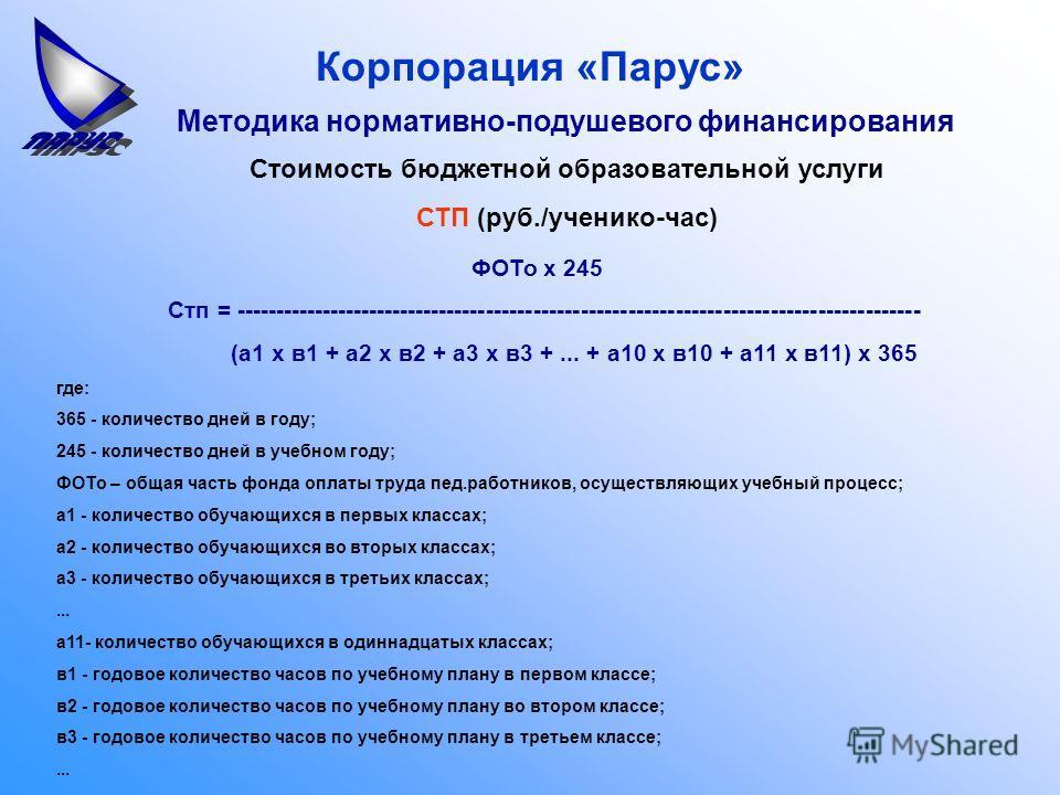 Корпорация «Парус» Методика нормативно-подушевого финансирования ФОТо х 245 Стп = --------------------------------------------------------------------------------------- (а1 х в1 + а2 х в2 + а3 х в3 +... + а10 х в10 + а11 х в11) х 365 где: 365 - коли