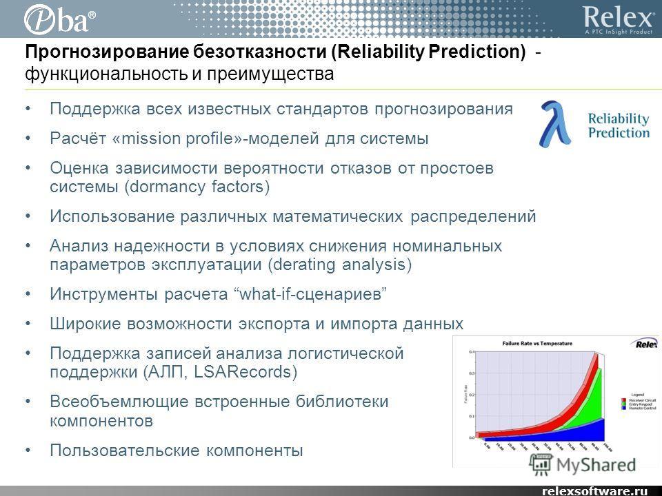 ® relexsoftware.ru Прогнозирование безотказности (Reliability Prediction) - функциональность и преимущества Поддержка всех известных стандартов прогнозирования Расчёт «mission profile»-моделей для системы Оценка зависимости вероятности отказов от про