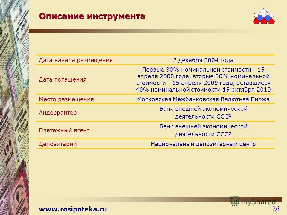 www.rosipoteka.ru 26 Дата начала размещения 2 декабря 2004 года Дата погашения Первые 30% номинальной стоимости - 15 апреля 2008 года, вторые 30% номинальной стоимости - 15 апреля 2009 года, оставшиеся 40% номинальной стоимости 15 октября 2010 Место