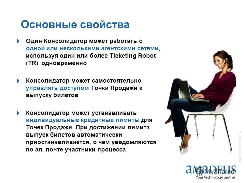 © 2006 Amadeus IT Group SA Основные свойства Один Консолидатор может работать с одной или несколькими агентскими сетями, используя один или более Ticketing Robot (TR) одновременно Консолидатор может самостоятельно управлять доступом Точки Продажи к в