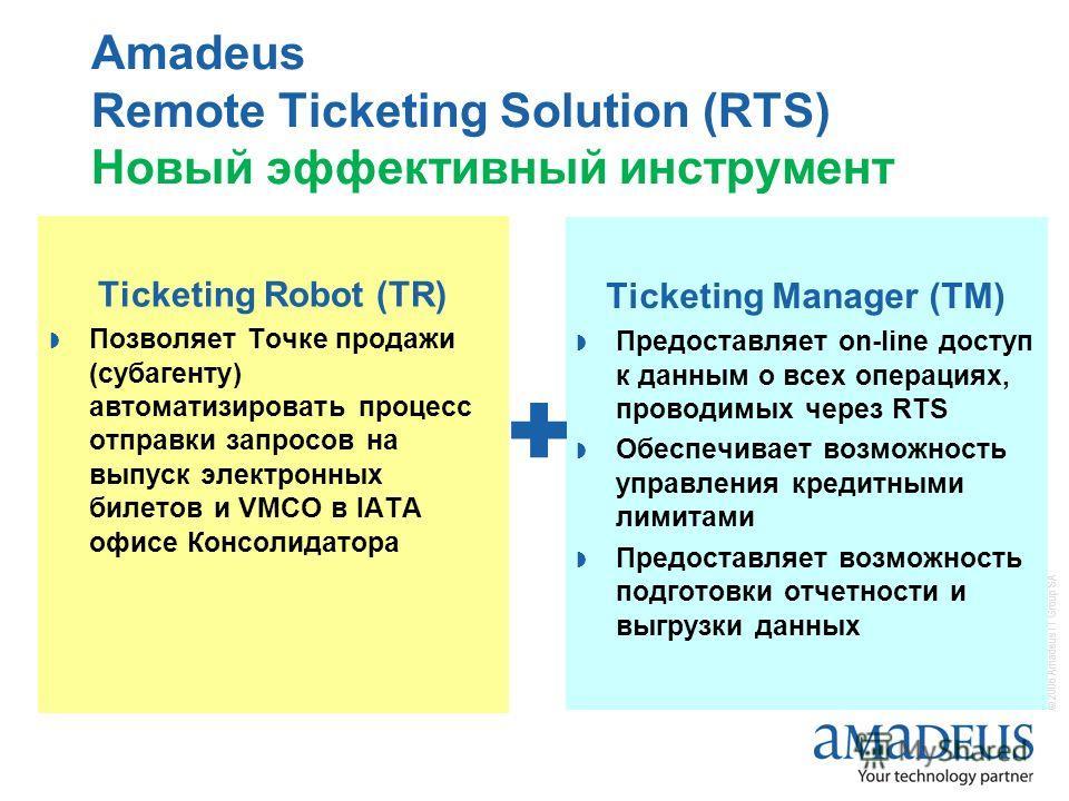 © 2006 Amadeus IT Group SA Amadeus Remote Ticketing Solution (RTS) Новый эффективный инструмент Ticketing Manager (TM) Предоставляет on-line доступ к данным о всех операциях, проводимых через RTS Обеспечивает возможность управления кредитными лимитам