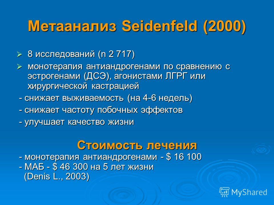 Метаанализ Seidenfeld (2000) 8 исследований (n 2 717) 8 исследований (n 2 717) монотерапия антиандрогенами по сравнению с эстрогенами (ДСЭ), агонистами ЛГРГ или хирургической кастрацией монотерапия антиандрогенами по сравнению с эстрогенами (ДСЭ), аг