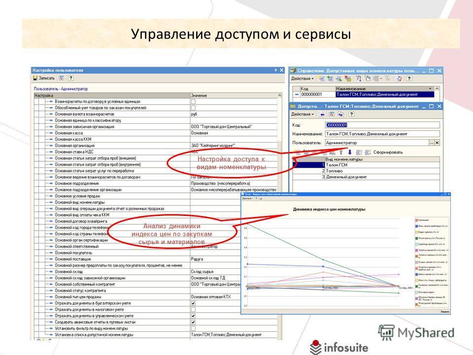 Управление доступом и сервисы Анализ динамики индекса цен по закупкам сырья и материалов Настройка доступа к видам номенклатуры