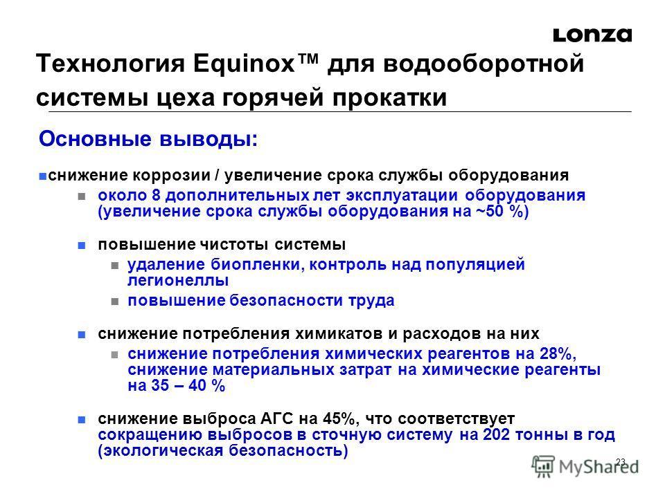 23 Технология Equinox для водооборотной системы цеха горячей прокатки Основные выводы: снижение коррозии / увеличение срока службы оборудования около 8 дополнительных лет эксплуатации оборудования (увеличение срока службы оборудования на ~50 %) повыш